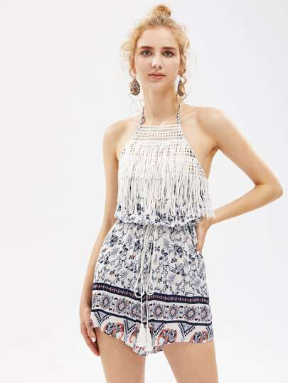 Halterneck Fringe Trim Playsuit pictures