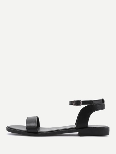 PU Ankle Strap Flat Sandals