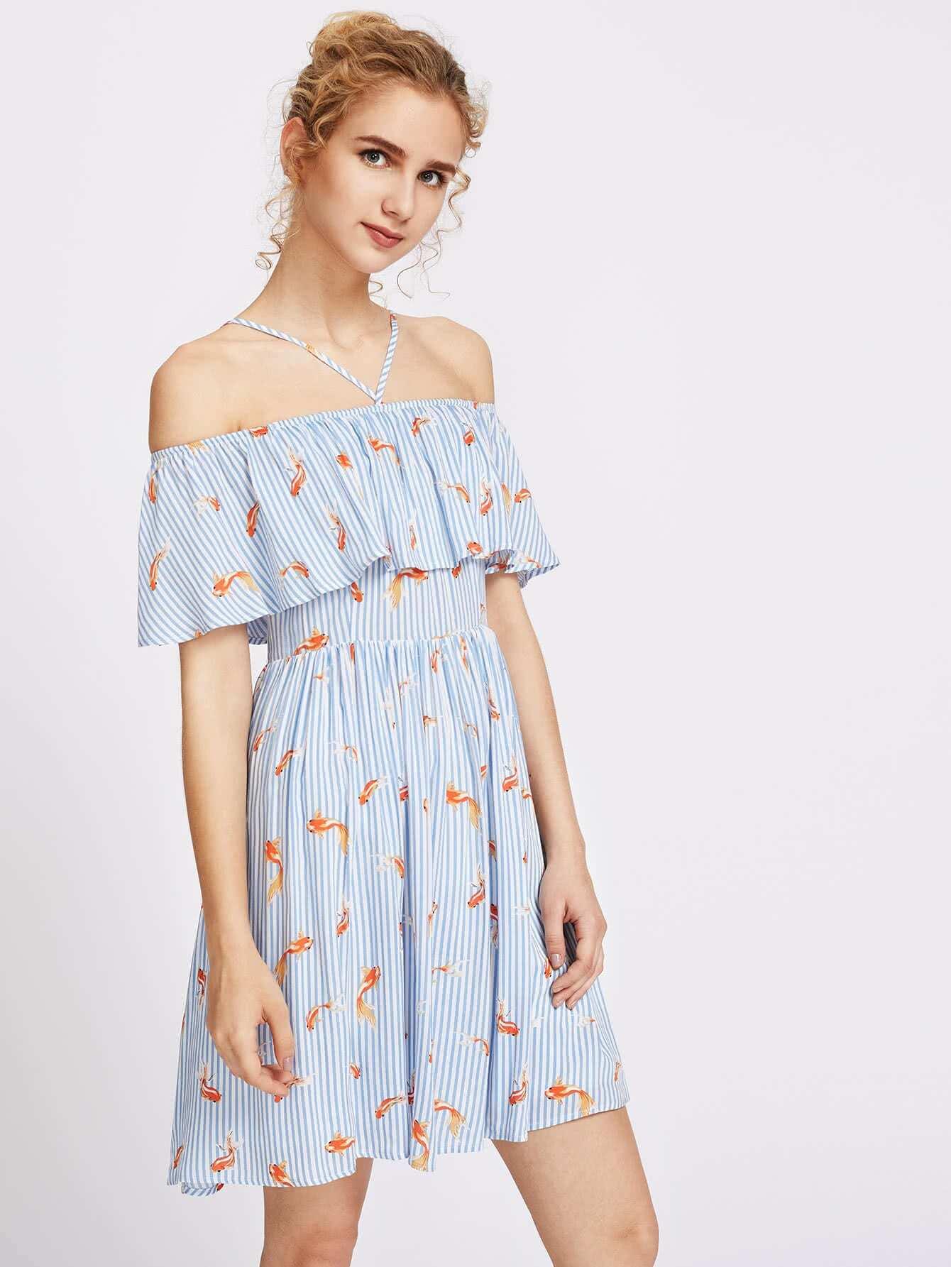 Фото Goldfish Print Halter Cold Shoulder Cutout Back Flounce Dress. Купить с доставкой