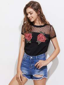 Dobby Mesh Yoke 3D Flower Patch T-shirt
