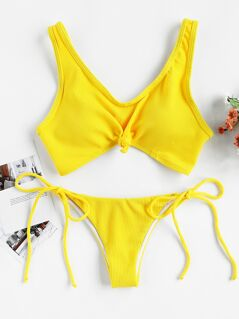 Knot Front Top With Self Tie Side Bikini Set