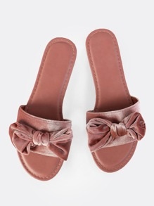 Soft Velvet Bow Slides MAUVE