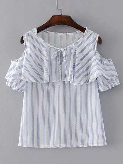 Tie Neck Open Shoulder Vertical Striped Top