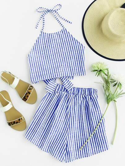 Striped Bow Open Back And Shorts Set