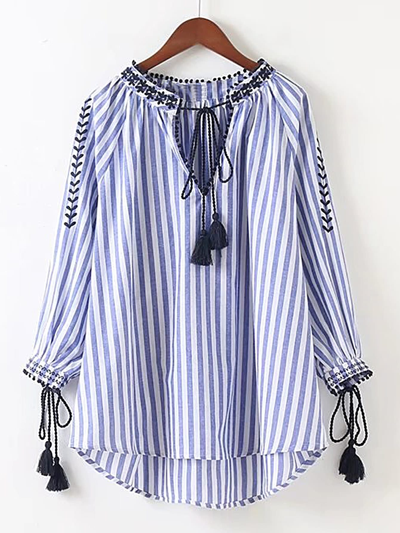 Vertical Striped Embroidery Tassel Tie High Low Blouse tassel tie striped blouse