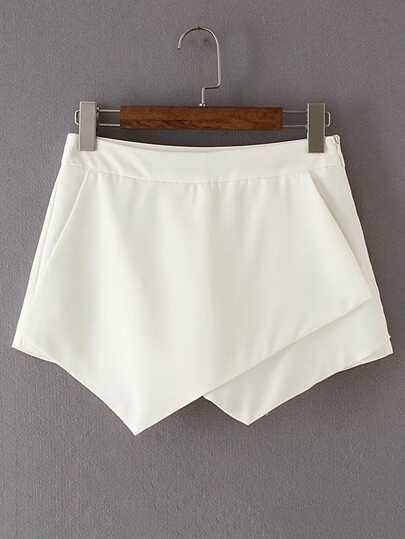 Zipper Side Asymmetrical Shorts