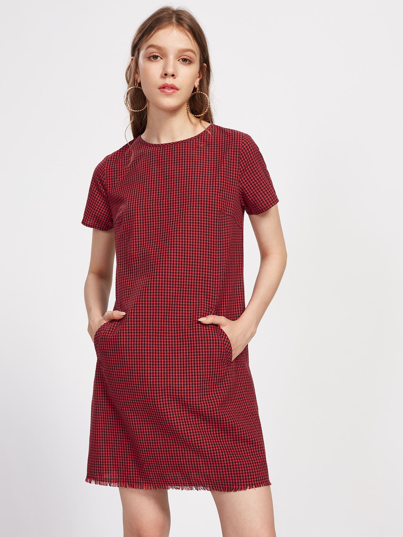 Pocket Front Frayed Hem Checkered Dress