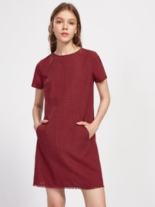 Pocket Front Frayed Hem Checkered Dress