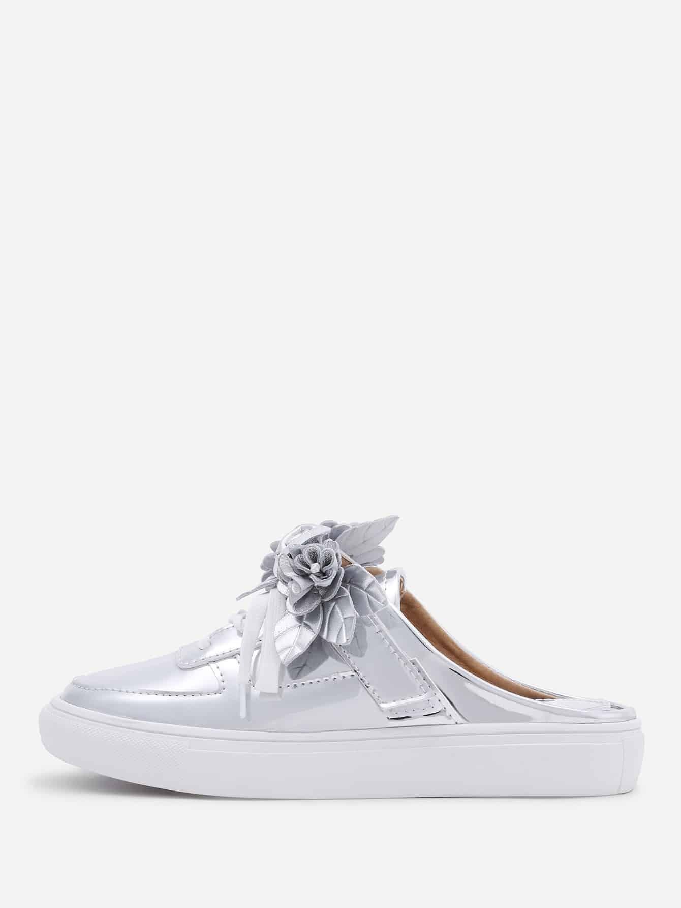 Flower Embellished Lace Up PU Shoes