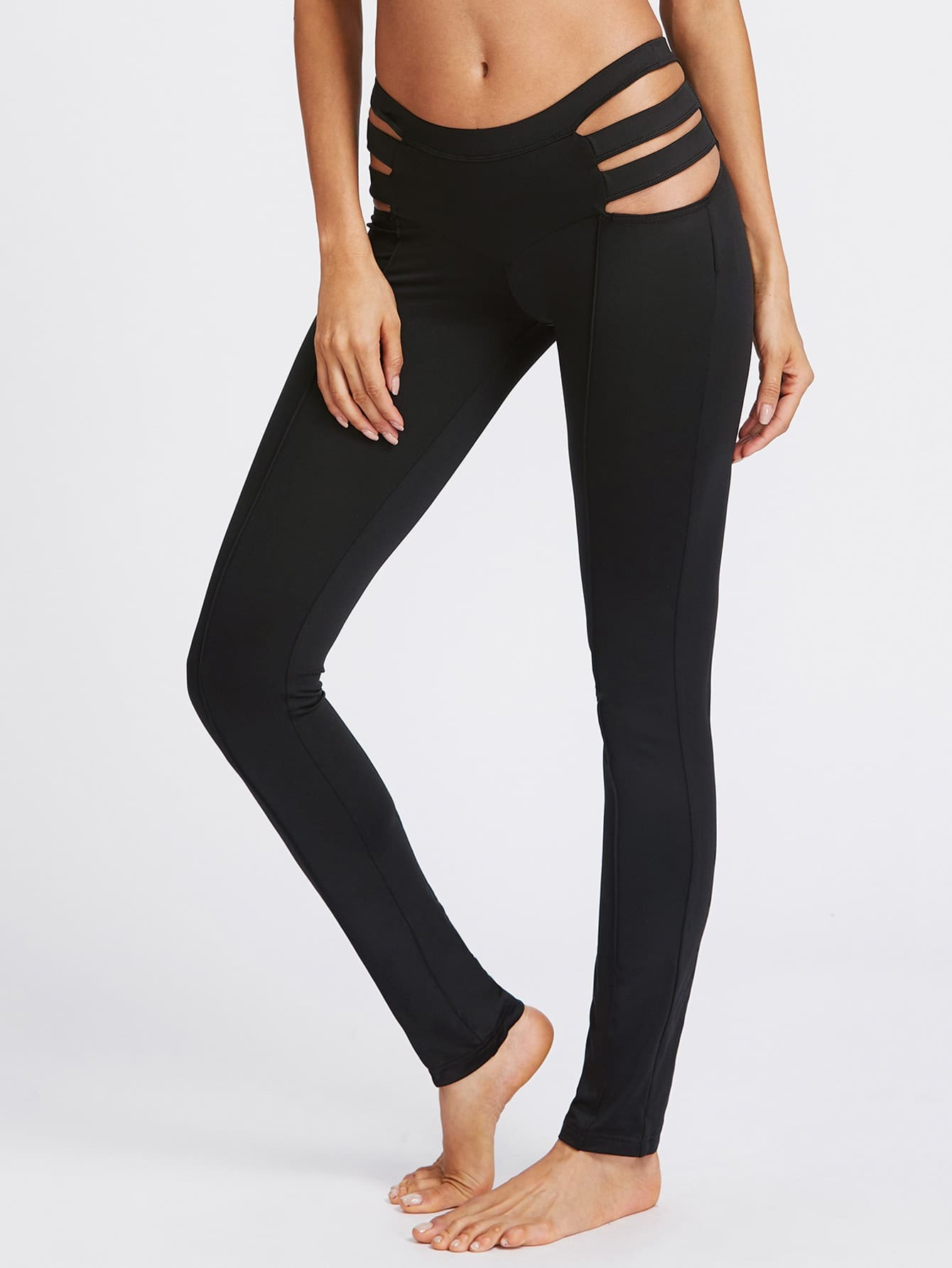Ladder Cutout Side Leggings leggings170530701