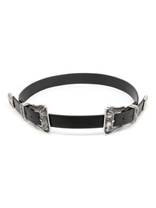 Double Buckle Faux Leather Belt