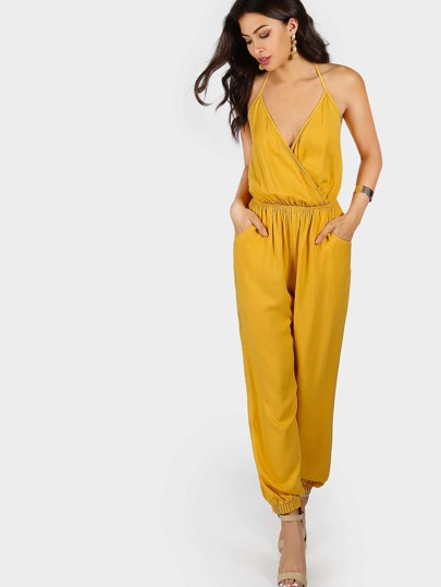Self Tie Halter Surplice Slanted Pocket Front Tapered Jumpsuit