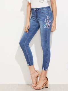 Cherry Blossom Embroidered Slashed Hem Jeans