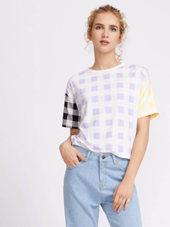 Drop Shoulder Mixed Checkered Print Tee