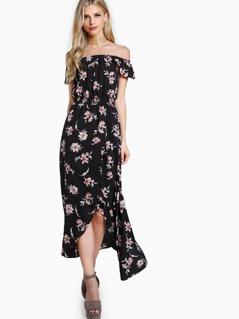 Shirred Waist Overlap Bardot Dress