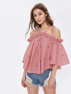 Strappy Tie Shoulder Trumpet Sleeve Trapeze Gingham Top