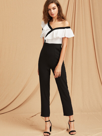 Two Tone Flounce Asymmetric Shoulder Tailored Jumpsuit