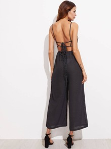 Polka Dot Lace Up Backless Jumpsuit
