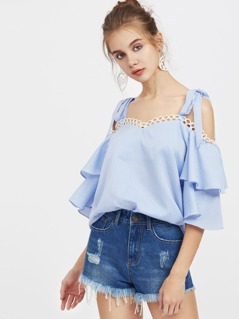 Self Tie Shoulder Lace Trim Layered Bell Sleeve Top