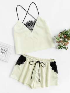 Lace Panel Crisscross Cami And Shorts Pajama Set