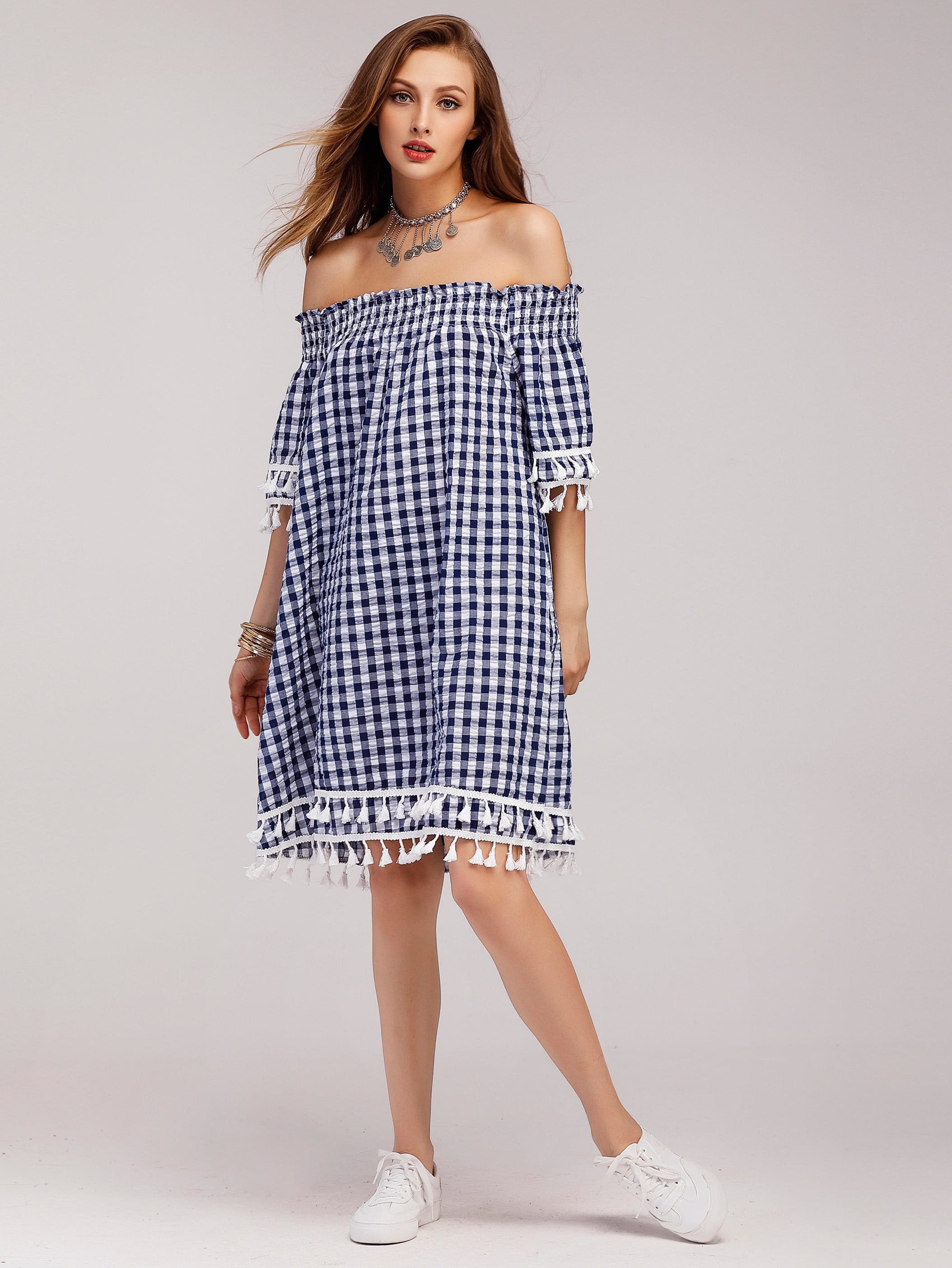 Gingham Off Shoulder Tiered Tassel Trim Dress off shoulder tassel trim beach dress