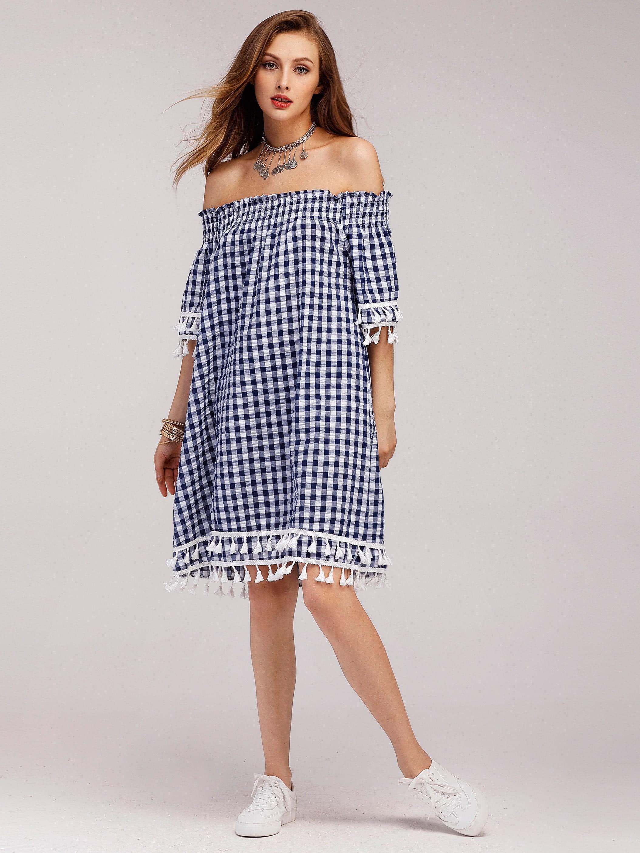 Gingham Off Shoulder Tiered Tassel Trim Dress dress170622103