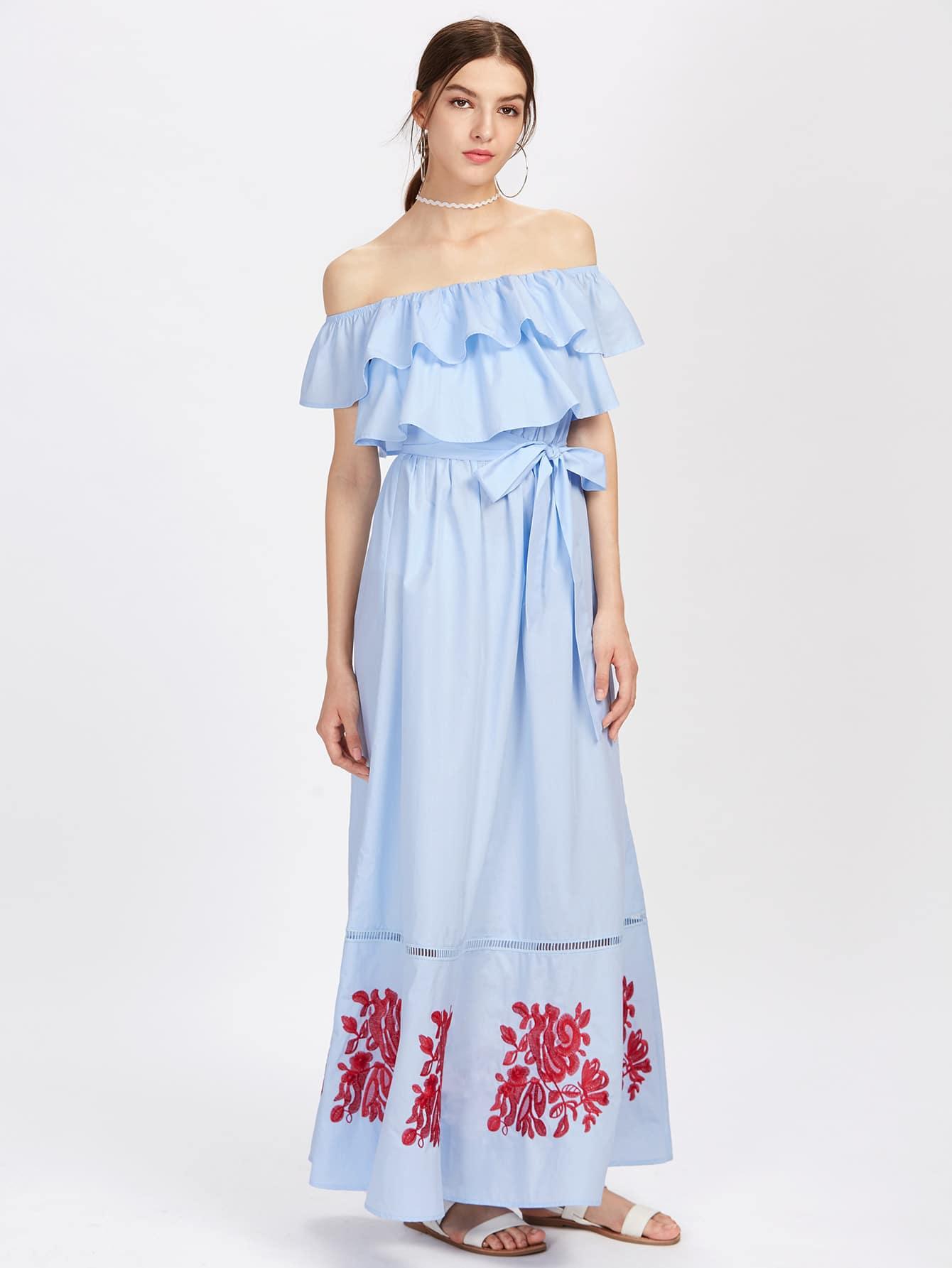 цена Lace Insert Embroidered Layered Frill Bardot Dress онлайн в 2017 году