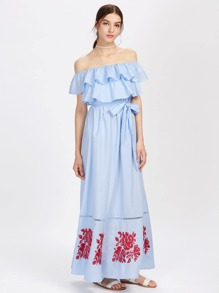 Lace Insert Embroidered Layered Frill Bardot Dress