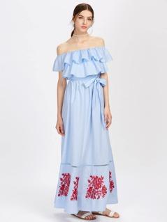 Lace Insert Embroidered Layered Frill Bardot Dress