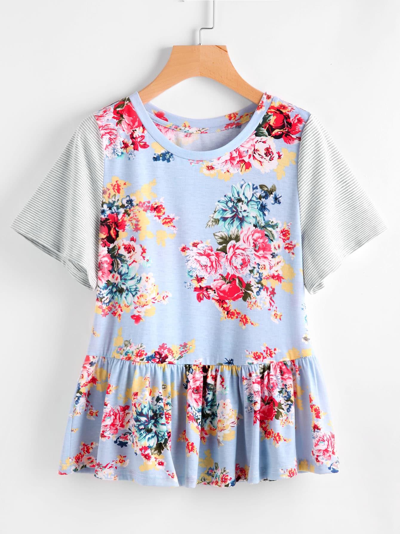Фото Contrast Striped Sleeve Floral Smock Top. Купить с доставкой