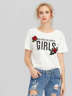 Rose Embroidered Cuffed Slub Tee