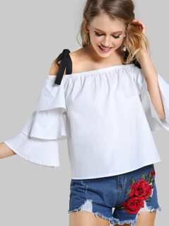 Tie Straps Cold Shoulder Top WHITE