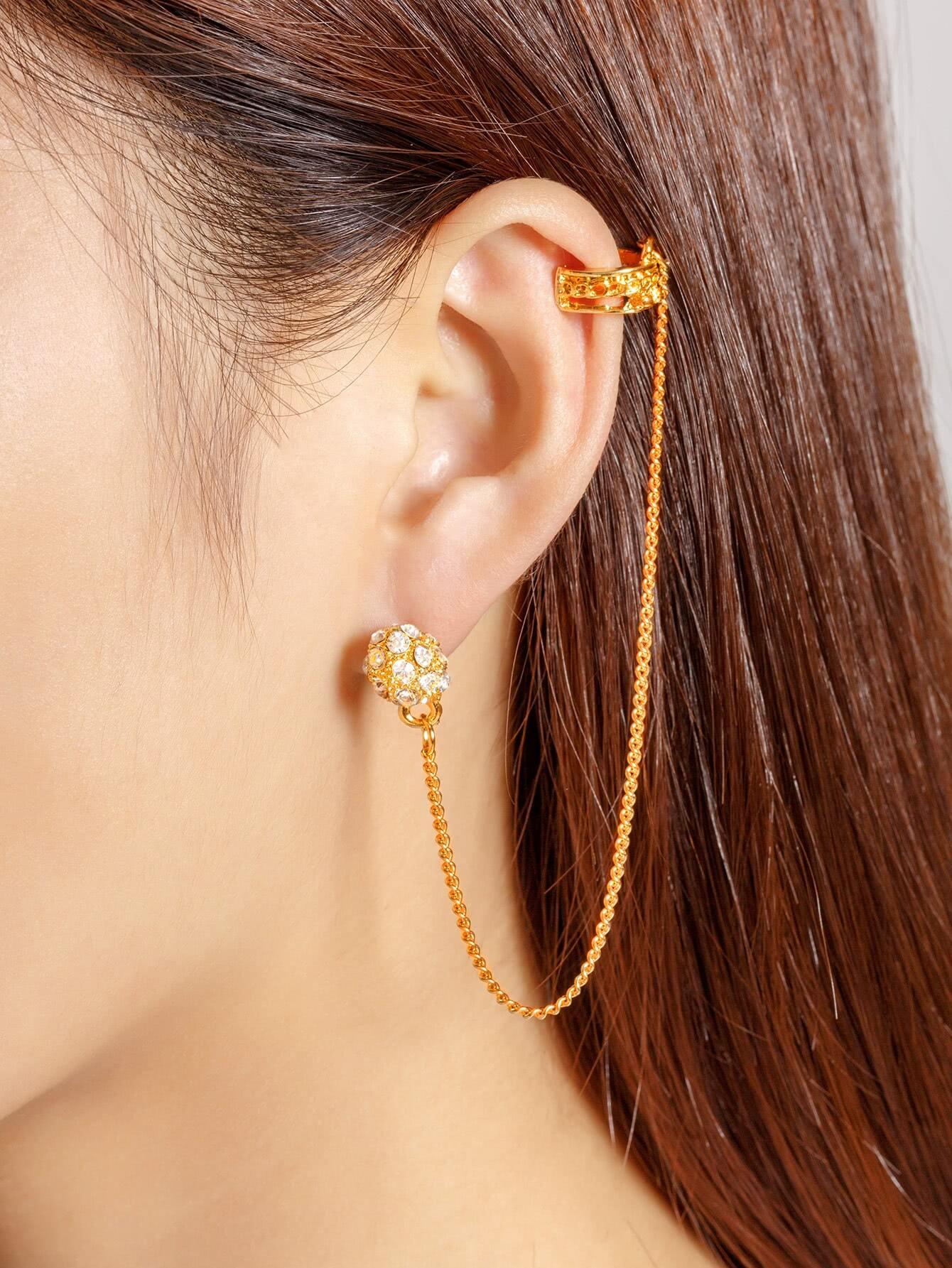 Rhinestone Chain Design Ear Cuff 1pcs
