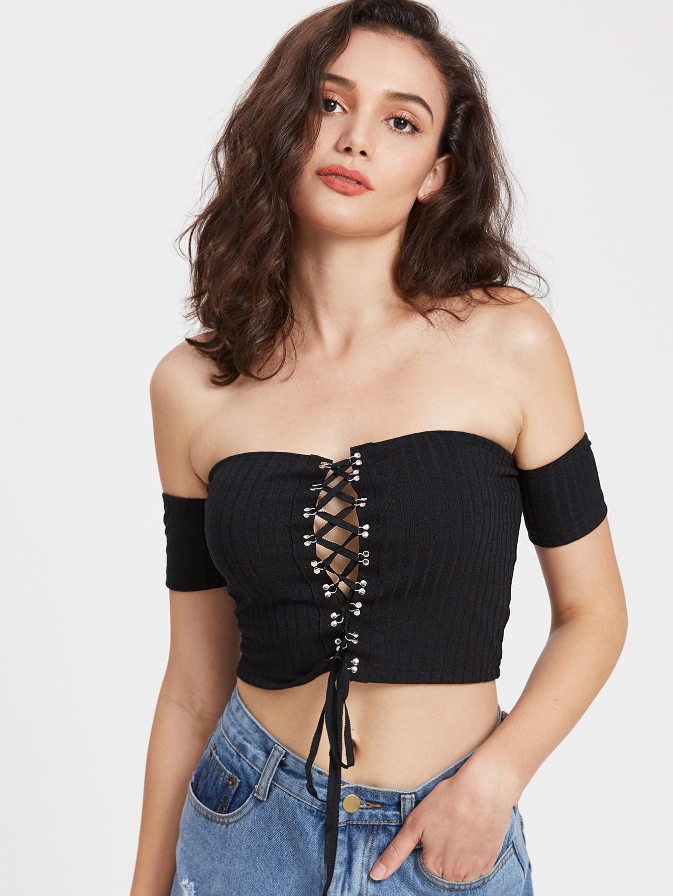 Lace Up Off Shoulder Ribbed Crop T-shirt