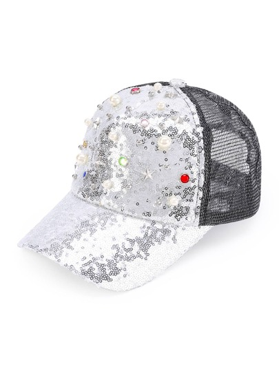 Faux Pearl Detail Sequin Baseball Cap