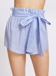 Self Belt Ruffle Waist Striped Shorts