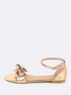Metallic Bow Sandal Flats ROSE GOLD