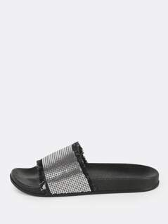 Frayed Chainmail Slip On Sandals BLACK