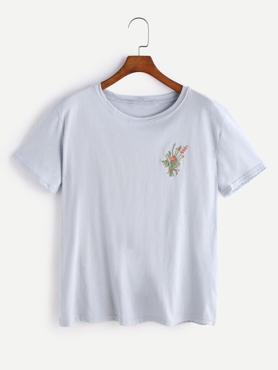 Botanical Embroidered T-shirt