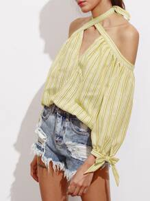 Off Shoulder Keyhole Halter Tie Sleeve Striped Top pictures