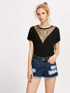 Embroidery Mesh Insert Tee