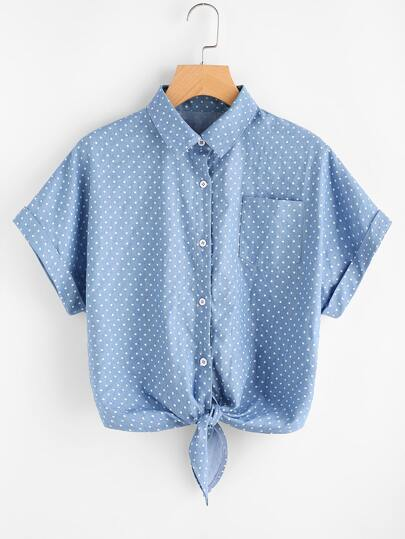 Cuffed Sleeve Tie Front Polka Dot Chambray Shirt
