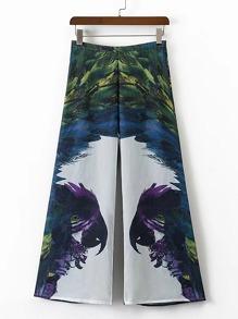 Parrot Print Wide Leg Pants