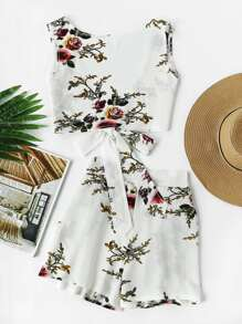 Floral Print Random V Back Tie Multiway Top With Shorts