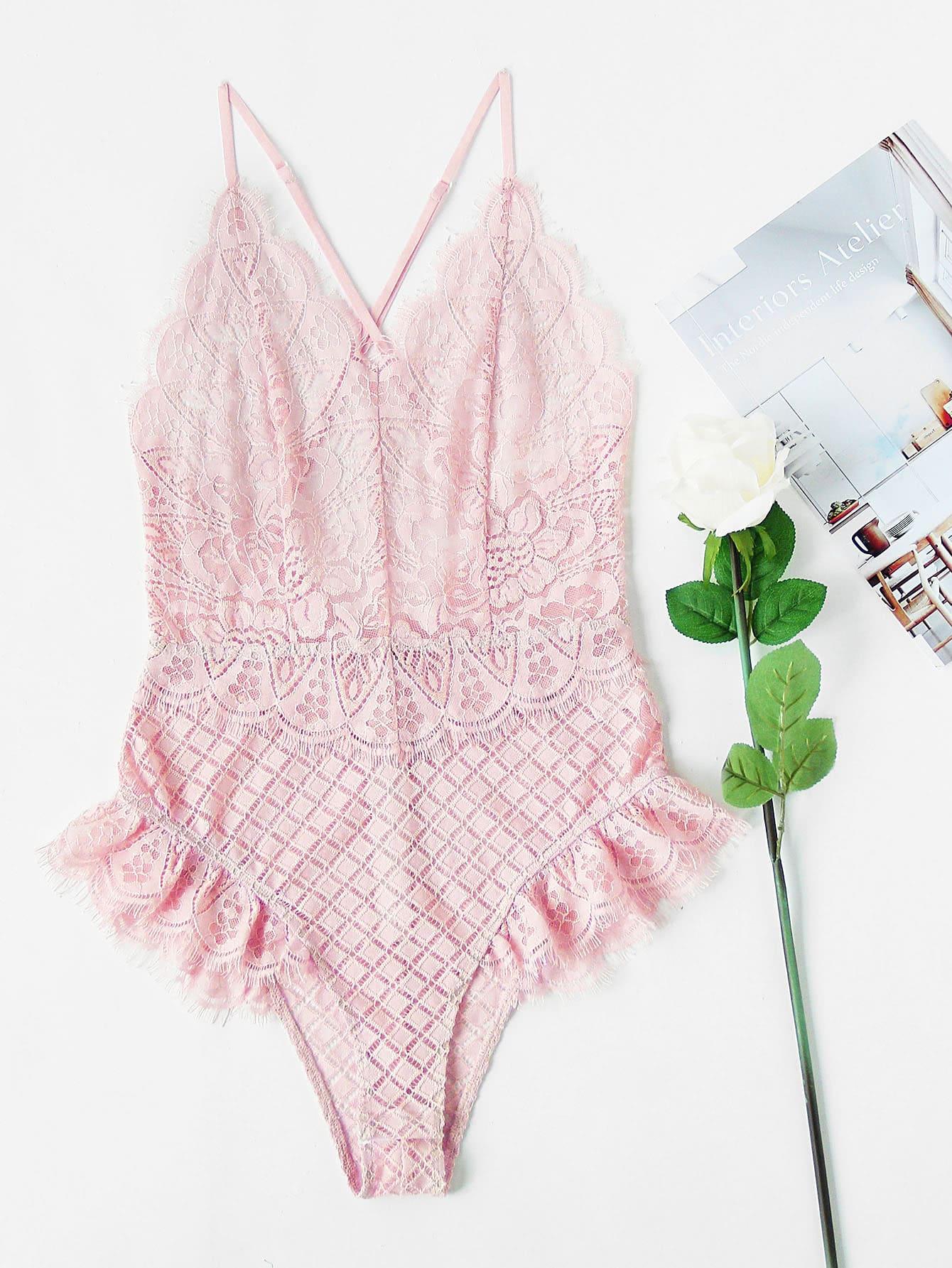 Фото Crisscross Back Frill Trim Lace Bodysuit. Купить с доставкой