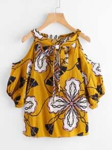 Open Shoulder Tie Front Ditsy Print Blouse