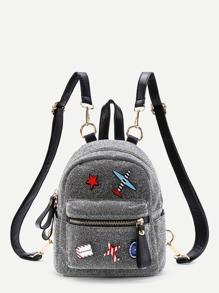 Модный рюкзак с аппликацией и регулируемым ремнем