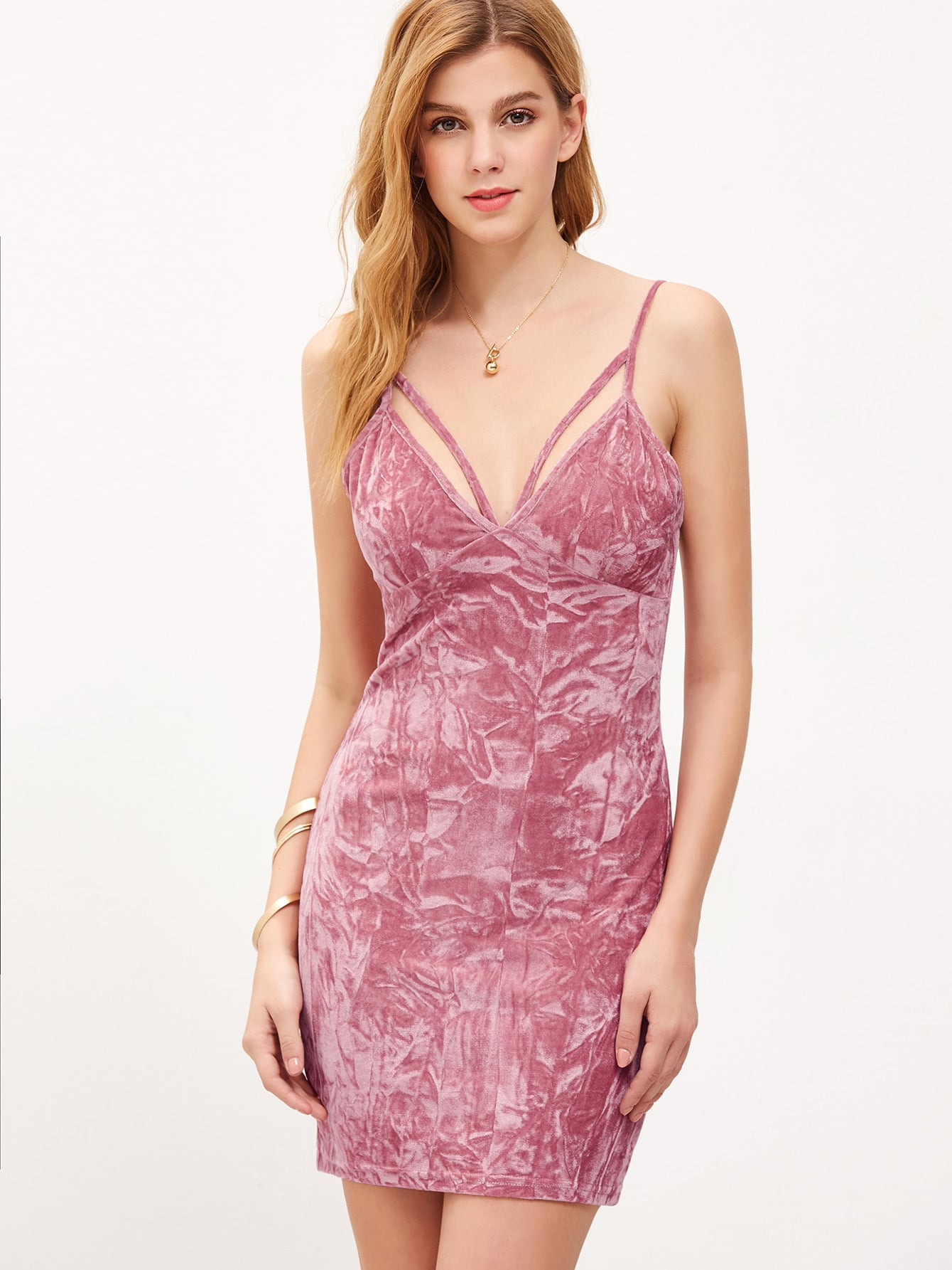 Strappy Plunging V Neckline Crushed Velvet Cami Dress