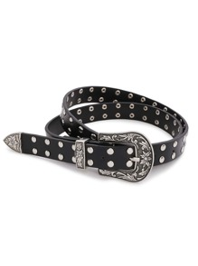 Studded Detail Retro Buckle Western Belt