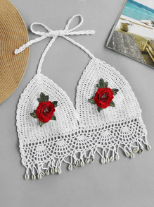 Halterneck Embroidered Appliques Crochet Top